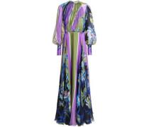 Gathered printed silk-chiffon gown