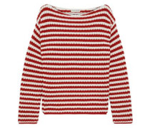 Striped Ribbed Cotton-blend Sweater White