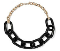 Gold-tone resin chain necklace