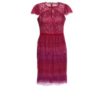 Tiered Lace And Plissé-tulle Mini Dress Plum Size 12