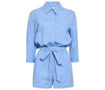 Gathered Cotton-blend Poplin Playsuit Light Blue