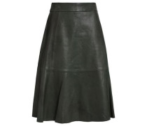 Flared Leather Skirt Forest Green Size 0