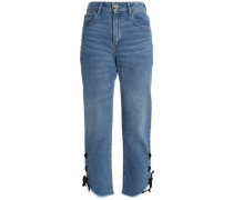 Lace-up faded high-rise straight-leg jeans