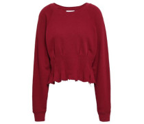 Ruffle-trimmed French Pima Cotton-terry Sweatshirt Claret