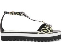 Animal-print leather sandals