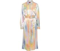 Woman Imogene Belted Printed Satin Midi Shirt Dress Multicolor