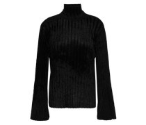 Ribbed-knit Chenille Turtleneck Sweater Black