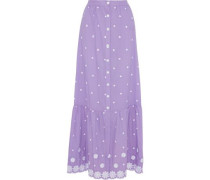 Aiden Embroidered Cotton-voile Maxi Skirt Lavender