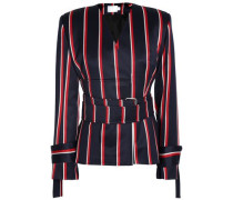 Belted striped wool and cotton-blend blazer