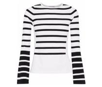 Striped Stretch-knit Top White