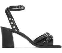Studded Pebbled-leather Sandals Black