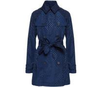 Double-breasted Polka-dot Shell Hooded Trench Coat Navy