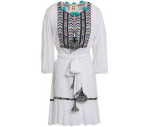 Pompom-embellished Embroidered Cotton-gauze Mini Dress White