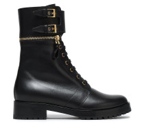 Zip-detailed Buckled Leather Ankle Boots