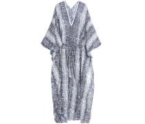 Belted Printed Crepe Kimono Blue