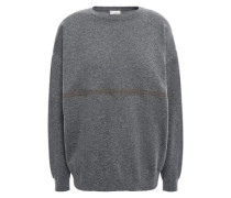 Woman Bead-embellished Cashmere Sweater Dark Gray