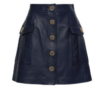 Studded Textured-leather Mini Skirt Navy