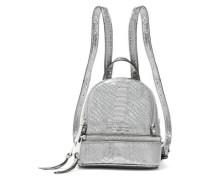 Woman Metallic Snake-effect Leather Backpack Gunmetal