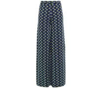 Jacquard Cotton-blend Wide-leg Pants Royal Blue