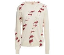 Woman Ruffle-trimmed Merino Wool Sweater Ivory