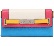 Color-block pebbled-leather continental wallet
