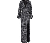 Woman Camille Gathered Sequined Chiffon Maxi Dress Black