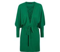 Lace-up crepe mini dress