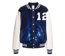 Embellished crepe bomber jacket