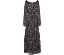Woman Gathered Polka-dot Cotton-mousseline Maxi Dress Black