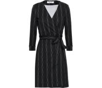Printed Silk And Cotton-blend Jersey Mini Wrap Dress Black Size 0