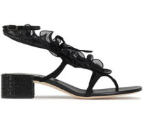 Ruffled Organza And Suede Sandals Black