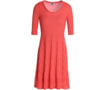 Pleated crochet-knit cotton-blend mini dress