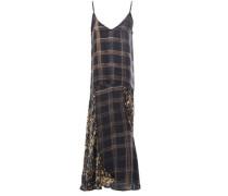 Woman Gambetta Paneled Printed Satin Midi Slip Dress Black