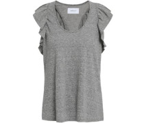 Ruffle-trimmed Mélange Jersey Tank Gray Size 0