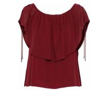 Off-the-shoulder Layered Silk Crepe De Chine Blouse Crimson