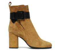 Leather-trimmed Buckle-detailed Suede Ankle Boots Army Green
