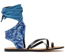 Sequin-embellished Denim And Leather Sandals