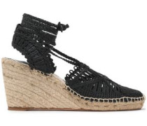 Lace-up woven wedge espadrilles