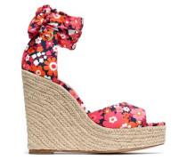 Lace-up floral-print crepe wedge espadrille sandals