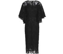 Draped cotton and silk-blend lace dress