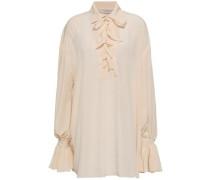 Lace-up Ruffled Crepe De Chine Mini Shirt Dress Cream