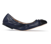 Ruffle-trimmed leather ballet flats