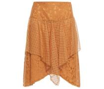 Woman Asymmetric Cotton-blend Point D'esprit And Corded Lace Skirt Brown
