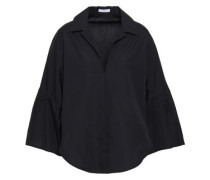 Gathered Cotton-poplin Shirt Black
