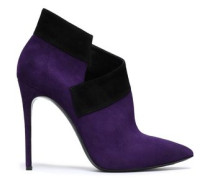 Two-tone suede ankle boots