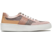 Glittered Leather And Suede Sneakers Antique Rose