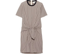 Tie-front cutout striped cotton and silk-blend Oxford mini dress