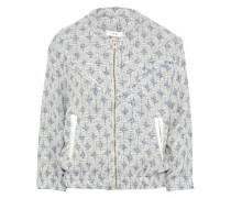 Leather-trimmed cotton-blend tweed bomber jacket