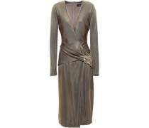 Wrap-effect Metallic Ponte Dress Brass