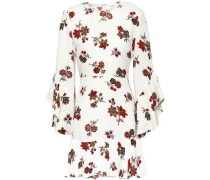 Fluted Floral-print Silk-crepe Mini Dress Off-white
